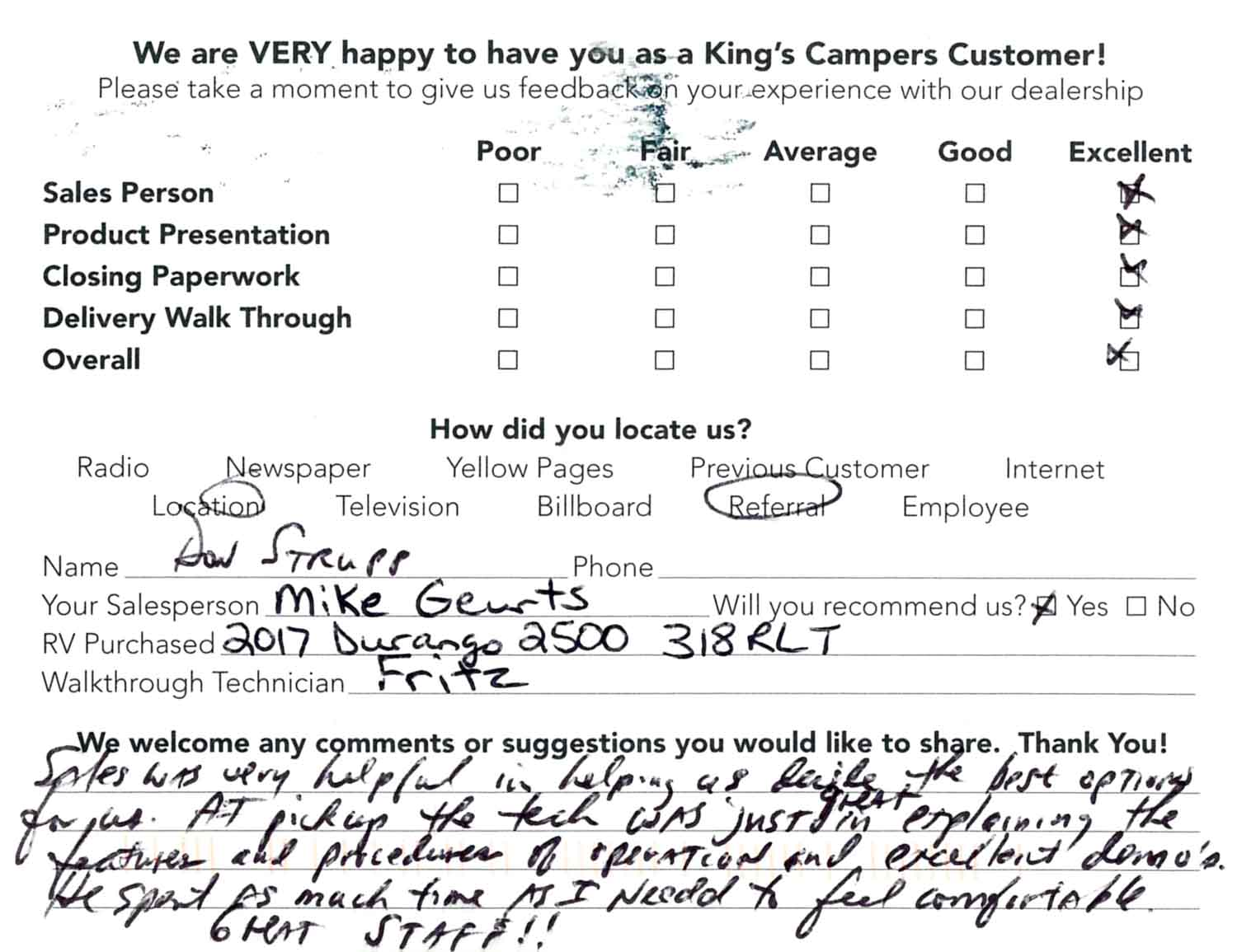 Customer Reviews King S Campers Wisconsin S Most